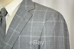 NEW Custom SuitSupply Flat Front Side Vent Grey Windowpane SUIT Slim Fit 42 L