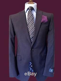 New Luxury Bespoke 40 Reg Slim Fit Purple Suit, Wool&mohair Cloth, Working Cuffs