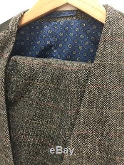 NEW Moss London Mens Slim Fit Tweed 3piece Suit
