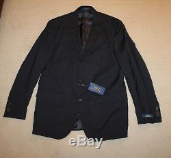 NEW Polo Ralph Lauren Custom Slim Fit Modern Blue Stripe Wool Suit 44L