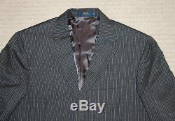 NEW Polo Ralph Lauren Custom Slim Fit Modern Gray Stripe Wool Suit 38S