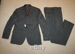 NEW Polo Ralph Lauren Custom Slim Fit Modern Gray Stripe Wool Suit 42L