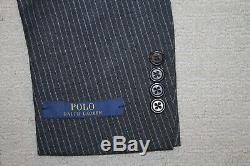 NEW Polo Ralph Lauren Custom Slim Fit Modern Gray Stripe Wool Suit 44L