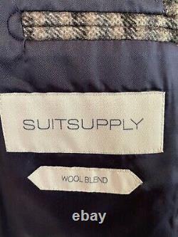 NEW Suit Supply Mens Gray Plaid 2 Btn Slim Fit Blazer Sz 42 L