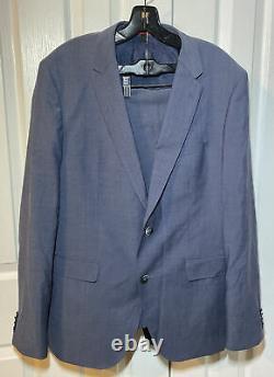 NWOT $995 HUGO BOSS Marzotto Blue 100% Virgin Wool 2 Button Slim Fit Suit 42R