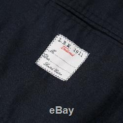NWT $1375 L. B. M. 1911 Navy Blue Washed Flannel Wool Suit Slim 44 R (fits 42)