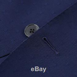 NWT $1375 LUIGI BIANCHI Slim-Fit Navy Blue Jacquard Pattern Wool Suit 40 R