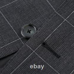 NWT $1445 Z ZEGNA Slim-Fit'Drop 8' Gray Check Wool Suit 44 R (fits 42)