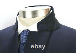 NWT $1495 Boglioli Wool Suit 48 R fits 46 R Solid Navy Two Button Sforza (58 Eu)