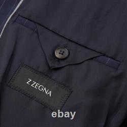 NWT $1495 Z ZEGNA Slim-Fit'Drop 8' Navy Blue Stripe Wool Suit 42 R (Eu 52)