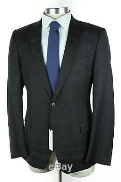 NWT $1525 VERSACE COLLECTION Abstract Black Grey Wool Suit Slim 44R Fits 42R