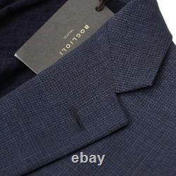 NWT $1700 BOGLIOLI'Alton' Slate Blue Mini Check Wool Suit Slim 44 R (fits 42)