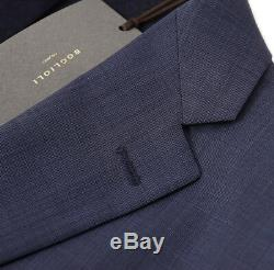 NWT $1875 BOGLIOLI'Alton' Slate Blue Sharkskin Wool Suit Slim 46 R (fits 44R)