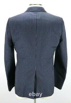 NWT $1885 Gucci Monaco Ink Blue Bold Stripe Cotton Wool Silk Suit 44 R fits 42 R