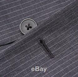 NWT $1975 BELVEST Medium Gray-Sky Blue Stripe Wool Suit Slim-Fit 44 R (Eu 54)