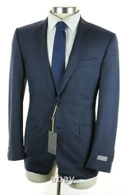 NWT $2195 CANALI 1934 Dark Blue Check Natural Comfort Wool Suit Slim Fit 40 R