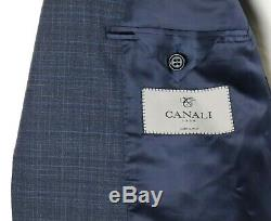 NWT $2195 CANALI 1934 Grey Blue-Check Natural Comfort Wool Suit Slim-Fit 40 R