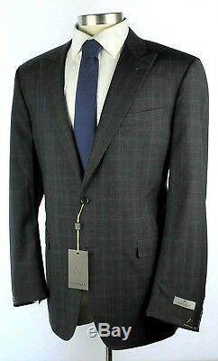 NWT $2195 CANALI 1934 Grey Check Peak Lapel Year Round Wool Suit 50 L Slim Fit
