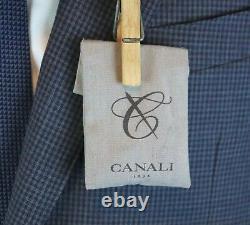 NWT $2195 CANALI 1934 Wool Suit 46 L fits 44 L (56 EU) Blue Microcheck Slim Fit