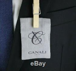 NWT $2195 CANALI 1934 Woven Black Year Round Wool Flat Front Suit Slim-Fit 40 R