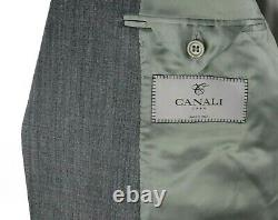 NWT $2195 CANALI 1934 Woven Grey Wool Silk Flat Front Suit Slim-Fit 44 R (54 EU)