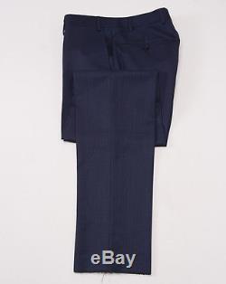 NWT $2395 CANALI 1934 Dark Blue Woven Peak Lapel Wool Suit 36 R Slim-Fit