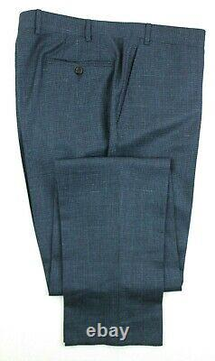 NWT $2395 CANALI 1934 Teal Houndstooth Wool Silk Linen Wool Suit 46 R Slim Fit