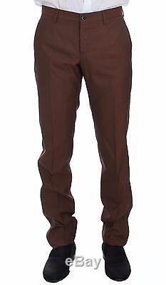 NWT $2600 DOLCE & GABBANA Brown Silk Wool 3 Piece Slim Fit Suit EU48 / US38 / M