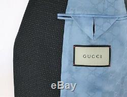 NWT $2750 GUCCI'Monaco' Dark Blue Pinstripe Wool Suit Slim-Fit 44 R (54 Eu)