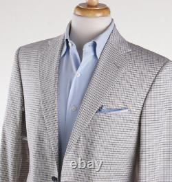 NWT $2995 BELVEST Beige and Brown Check Cotton Suit 38 R (Eu 48) Slim-Fit