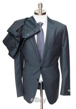 NWT $2995 BELVEST Navy Melange Slim Fit Wool 2Btn Flat Front Suit 52 7L 42 L