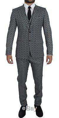 NWT $3200 DOLCE & GABBANA Blue Wool Owl Print Slim Fit 3 Piece Suit EU48/ US38/M