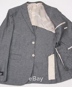 NWT $3495 BELVEST Peak Lapel Green Melange Silk-Linen Suit 40 R Slim-Fit (Eu50)
