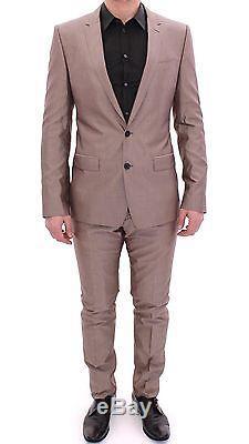 NWT $3500 DOLCE & GABBANA Beige Slim Fit Cotton Silk MARTINI Suit EU54 / US44