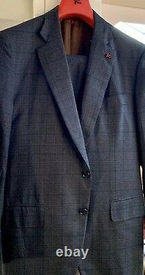 NWT $3895 ISAIA Brown-Gray Check'Travel' Wool Suit 54/ 44 Slim Fit Gregory