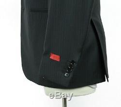 NWT $3895 ISAIA Gregory Black Stripe Super 130's Wool Suit 42 R (52 Eu) Slim Fit