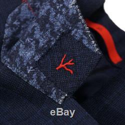 NWT $4195 ISAIA Slim-Fit Dark Blue Check Super 140s Wool Suit 38 R (Eu 48)