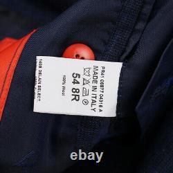 NWT $4195 ISAIA Slim-Fit Dark Blue Check Super 140s Wool Suit 44 R (Eu 54)