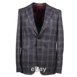 NWT $4195 ISAIA Slim-Fit Gray Layered Check Extra Soft Wool Suit 44 R (Eu 54)