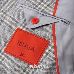 NWT $4195 ISAIA Slim-Fit Light Gray Layered Check Soft Wool Suit 38 R (Eu 48)