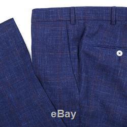 NWT $4195 ISAIA Slim-Fit Royal Blue Check Wool-Silk-Linen Suit 38R (Eu 48)