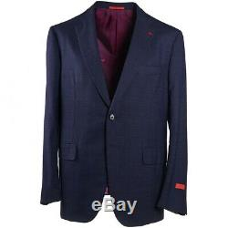 NWT $4250 ISAIA Slim-Fit Darker Blue Check Wool Suit 46 R (Eu 56) Gregory