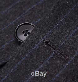 NWT $4295 D'AVENZA Charcoal-Blue Chalkstripe Flannel Wool Suit 40 R Slim-Fit