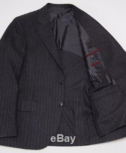 NWT $4295 D'AVENZA Charcoal-Blue Chalkstripe Flannel Wool Suit 40 R Slim-Fit