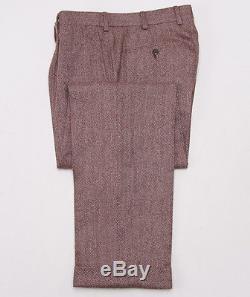 NWT $4495 BELVEST Burgundy Herringbone 100% Cashmere Suit Slim 40 R (fits 38R)