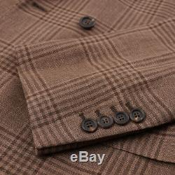 NWT $4575 BRUNELLO CUCINELLI Slim-Fit Brown Check Linen-Wool-Silk Suit 36 R