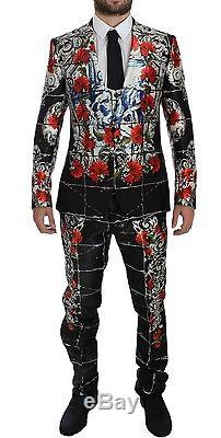 NWT £8060 DOLCE & GABBANA Roses Torero Silk Slim Fit 3 Piece Suit EU48 / US38 /M