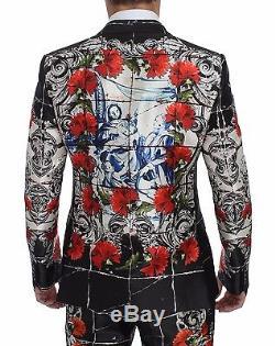 NWT $9800 DOLCE & GABBANA Roses Torero Silk Slim Fit 3 Piece Suit EU48 / US38 /M