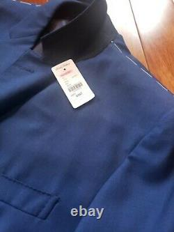 NWT Brooks Brothers Milano Fit 1818 Suit Bright Blue Sharkskin Size 44R
