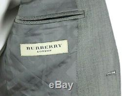 NWT Burberry London Stirling Lt. Grey Wool Mohair Flat Front Suit Slim Fit 40 R